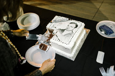 Judyth Vary Baker cutting a birthday cake on Saturday during the Lee Harvey Oswald Conference outside New Orleans. The annual conference is held around Oswald's birthday, Oct. 18. Ms. Baker claims to have been his girlfriend.