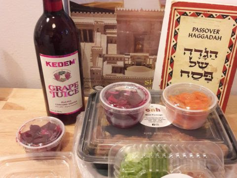 """Contents of a """"Seder in a Box"""" distributed by Chabad. (LEWIS BADEN)"""