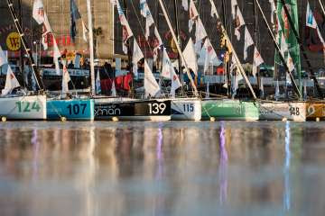 illustration boats on water during pre-start of the Transat Jacques Vabre 2017, duo sailing race from Le Havre (FRA) to Salvador de Bahia (BRA) in Le Havre on October 30th, 2017 - Photo Jean-Louis Carli / ALeA / TJV2017
