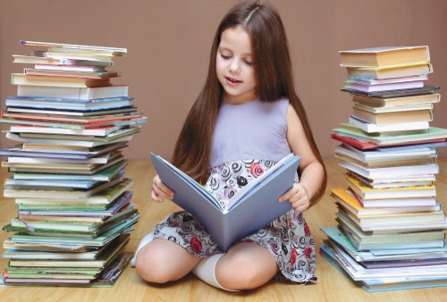 Girl reading in book mess