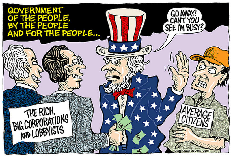 Illustration showing Uncle Same paying attention to the rich, big corporations and lobbyists, while shunting average citizens