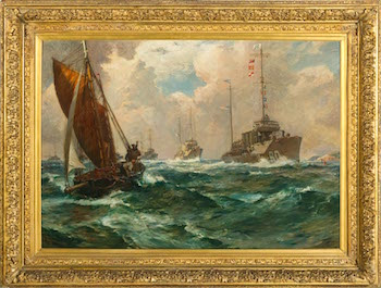 """Return of the Mayflower"" by Bernard F. Gribble. An original painting from FDR's personal naval collection, acquired by the National Park Service and returned to his home in 2001."