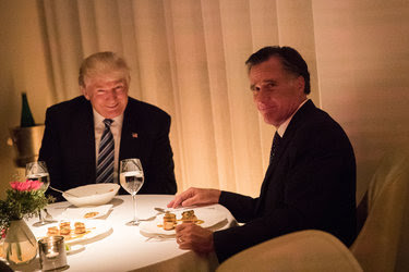 President-elect Donald J. Trump smiled and Mitt Romney attempted to smile at Jean-Georges restaurant on Tuesday.