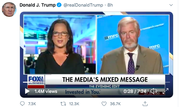 President Trump tweeted an interview of MRC President Brent Bozell on Fox Business