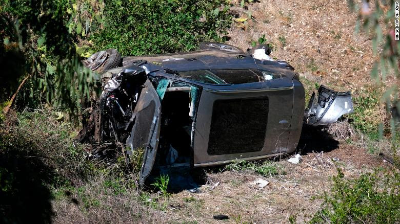 Tiger Woods' vehicle rests on its side after the rollover accident Tuesday.