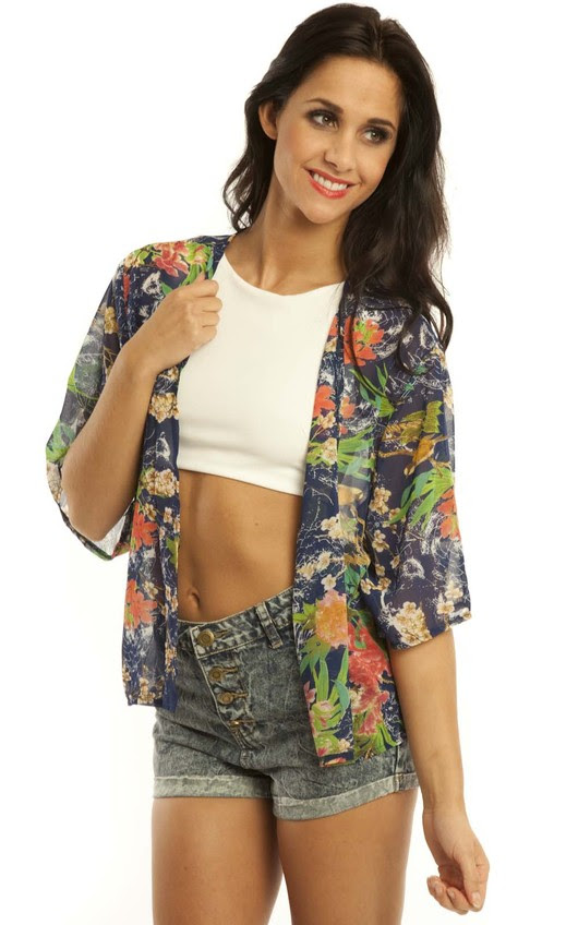 ElleJay Cropped Floral Kimono in Blue
