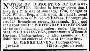 Wilson & Havens Dissolution 1876