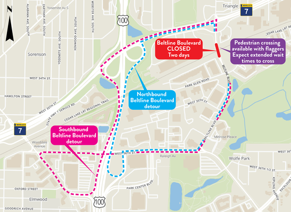 Beltline Boulevard in St. Louis Park Vehicle Detour