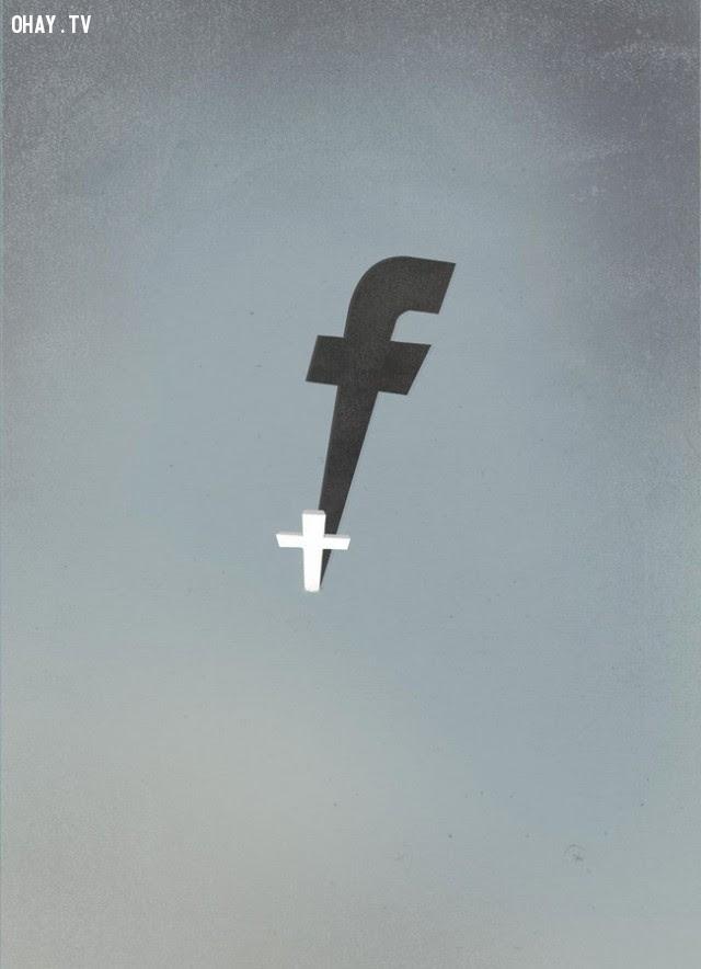 Cái bóng của Facebook hiện nay quá lớn bao trùm tất cả cuộc sống của bạn.,xã hội hiện đại,tranh biếm họa