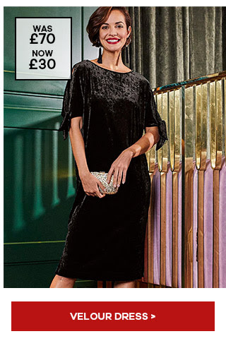 JOANNA HOPE VELOUR TIE SLEEVE DRESS. £30 from JD Williams