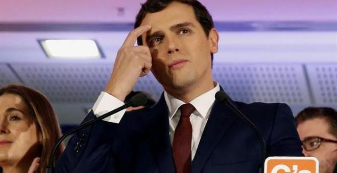 El líder de Ciudadanos, Albert Rivera, valora los resultados en las elecciones generales esta noche en Madrid. EFE