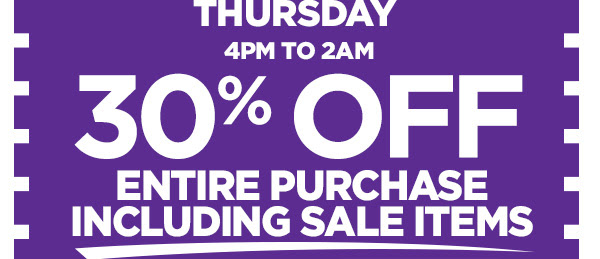 30% OFF ENTIRE PURCHASE INCLUDING SALE ITEMS