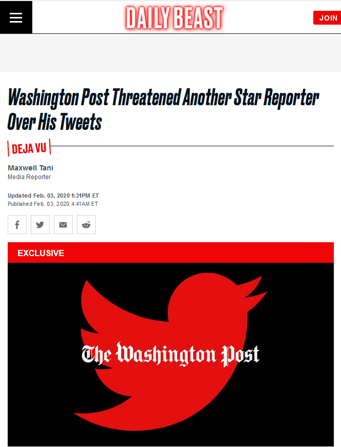 Daily Beast: Washington Post Threatened Another Star Reporter Over His Tweets