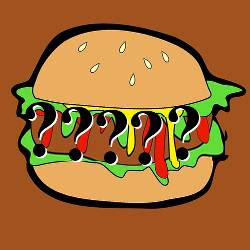 clipart of a burger with question marks