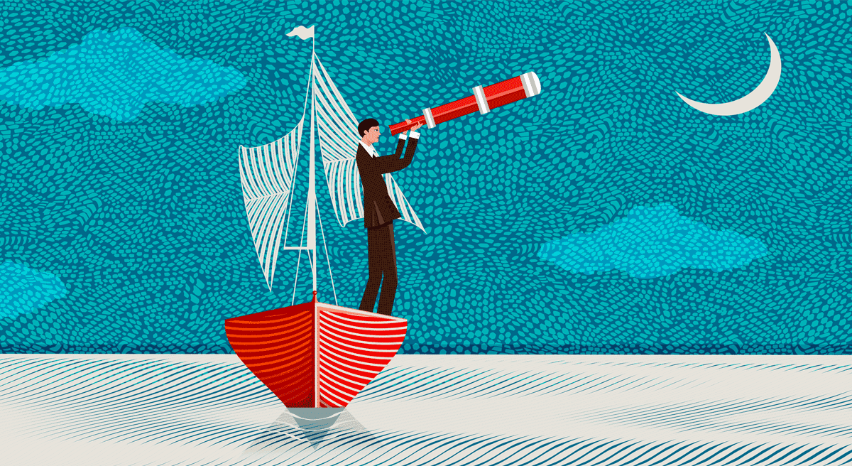 graphic of man in a boat