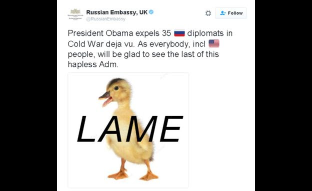 Russian Embassy tweets: President Obama expels 35 ��ussian diplomats in Cold War deja vu. As everybody, incl american people, will be glad to see the last of this hapless Adm.