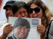 Demonstration in support of Bolivian President Evo Morales after he announced his resignation on Sunday, in Buenos Aires.