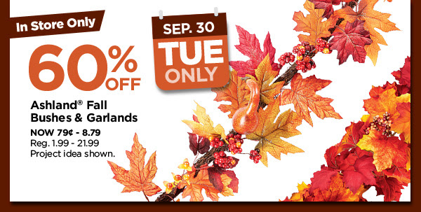 60% off. Ashland® Fall Bushes & Garlands