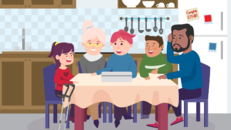 Picture of family at dinner table