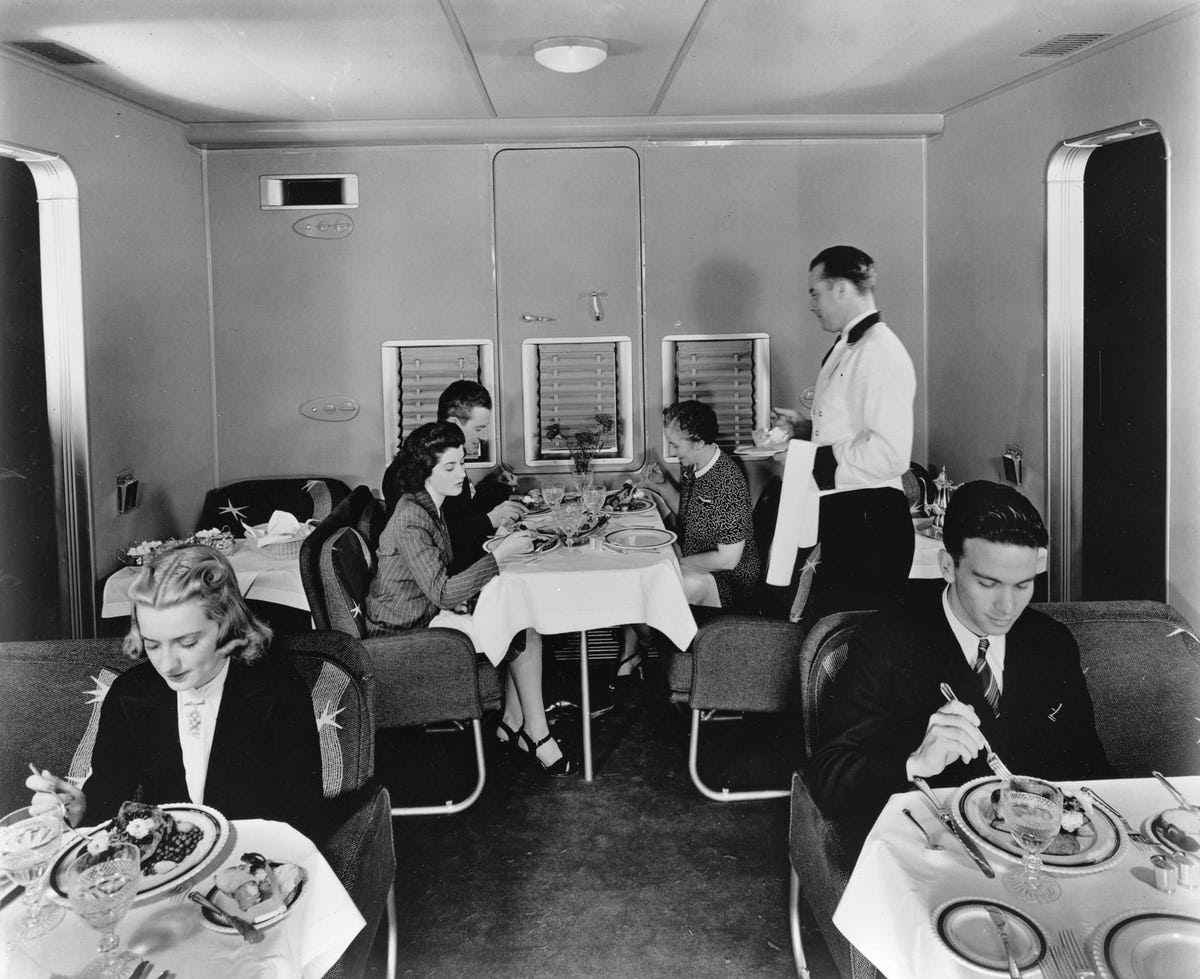 There was                                                             room for a                                                             crew of 10 to                                                             serve as many                                                             as 74                                                             passengers.