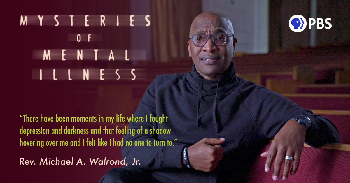 Rev. Walrond, an African American man in a grey hooded pullover, sits in a pew of his church. Next to him is his quote, ''There have been moments in my life where I fought depression and darkness and that feeling of shadow hovering over me and I felt like I had no one to turn to.''