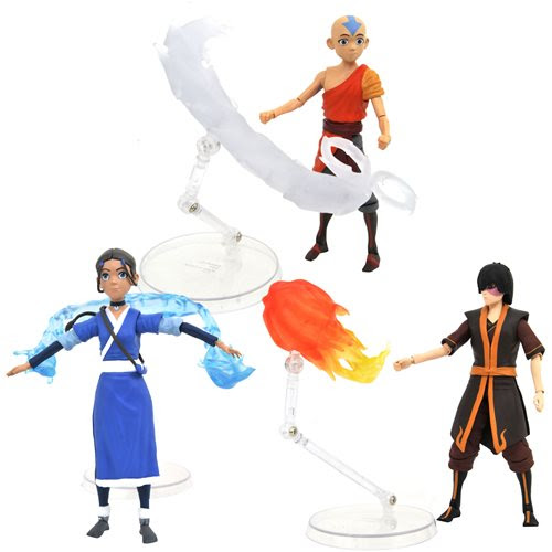 Image of Avatar: The Last Airbender Series 1 Action Figure Set of 3 -JANUARY 2021
