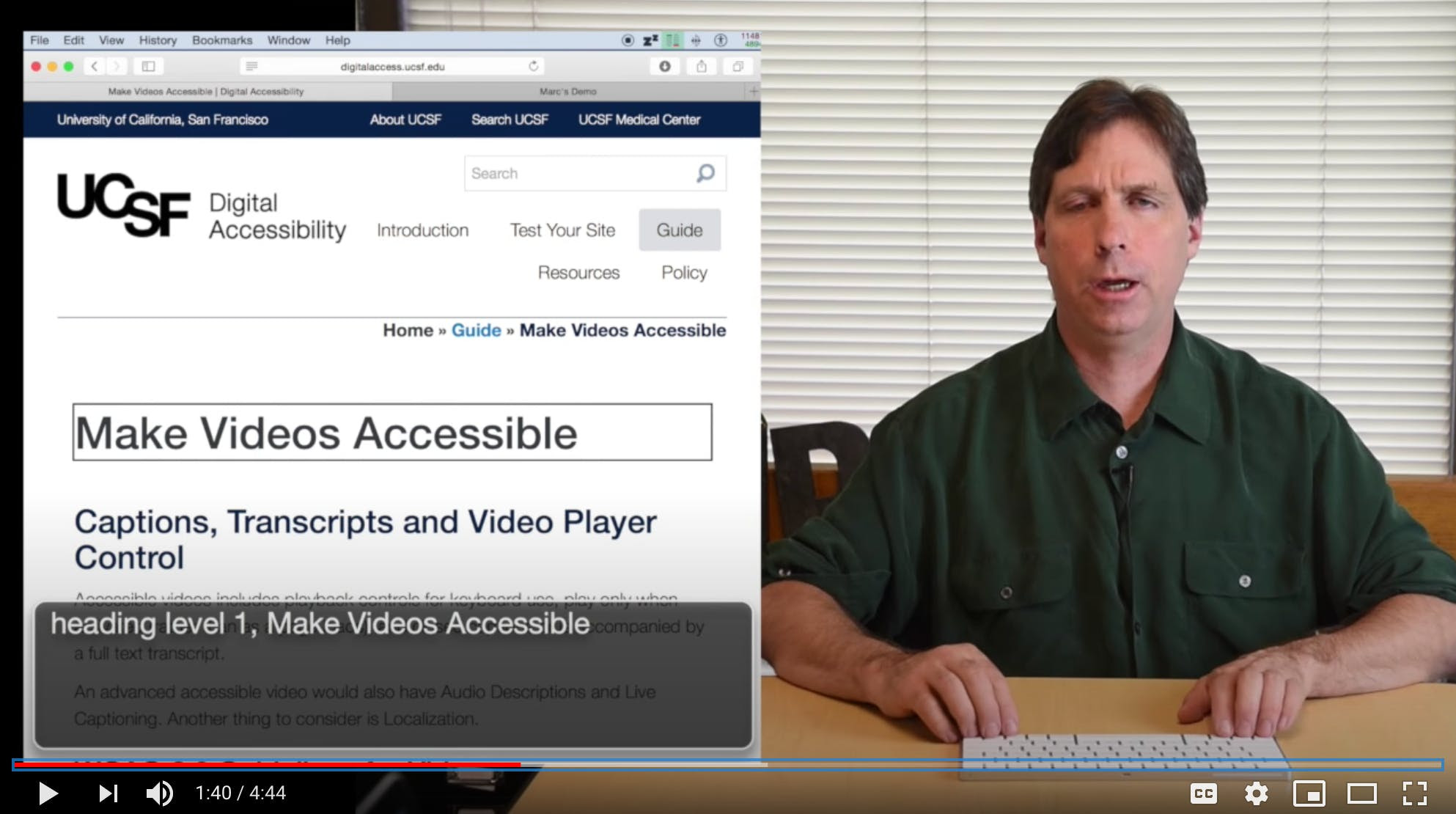 Screen Reader demo video on YouTube