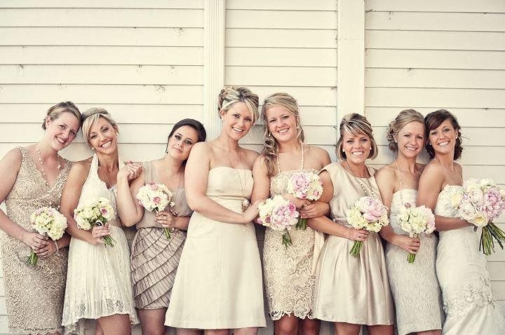 Mismatched Champagne bridesmaids dresses  #CupcakeDreamWedding