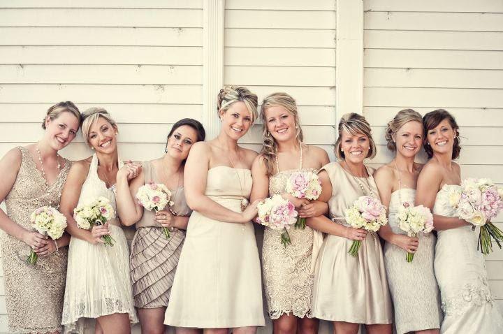 Mismatched Champagne bridesmaids dresses  #CupcakeDreamWedding