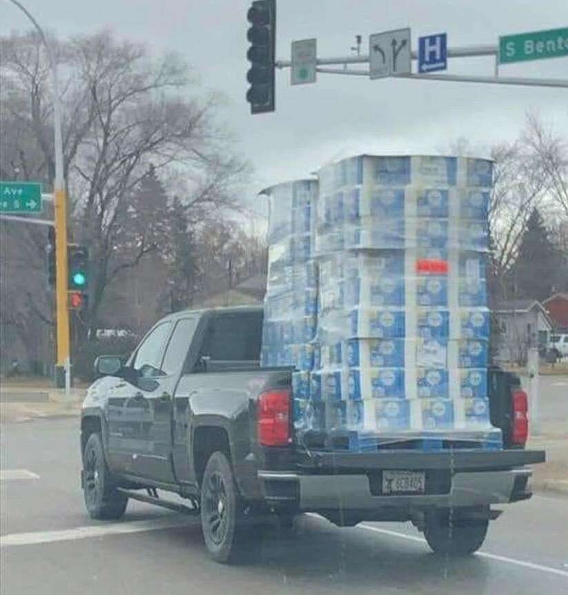 truck filled with toilet paper