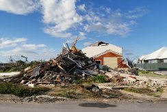 A house devastated by the impact of Hurricane Dorian in 2019