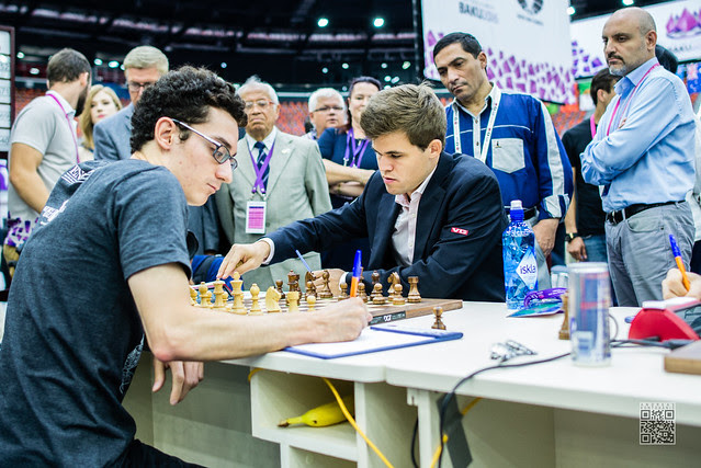 Caruana Fabiano vs Carlsen Magnus - picture by Andreas Kontokanis