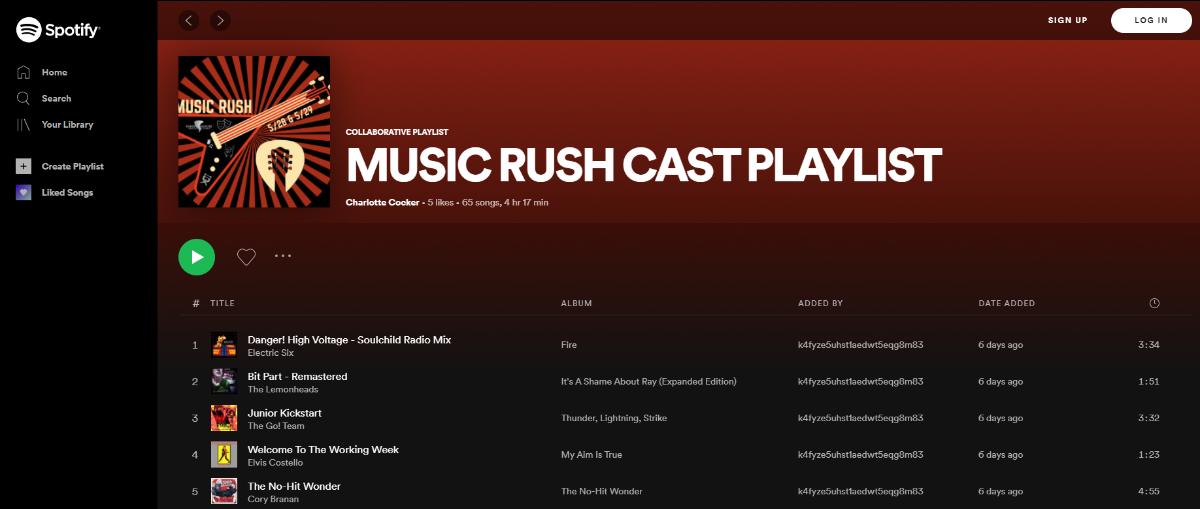 Music RUSH Cast Playlist
