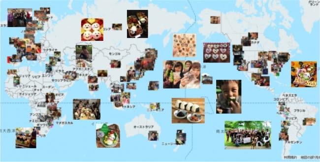 特設サイトに投稿された写真のグローバルマップ