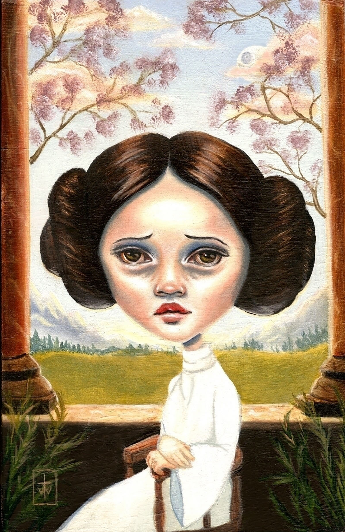 stylized painting of princess leia