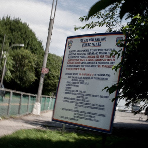 The entrance to Rikers Island prison