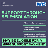 Green text on blue background which says support through self isolation. NHS and Government logo.