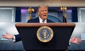 27/09/2020.-El presidente estadounidense, Donald Trump, en una rueda de prensa. / EFE