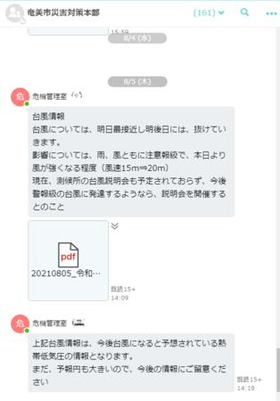 奄美市のLoGoチャット「災害対策本部」トークルーム画面(個人名はぼかしています)