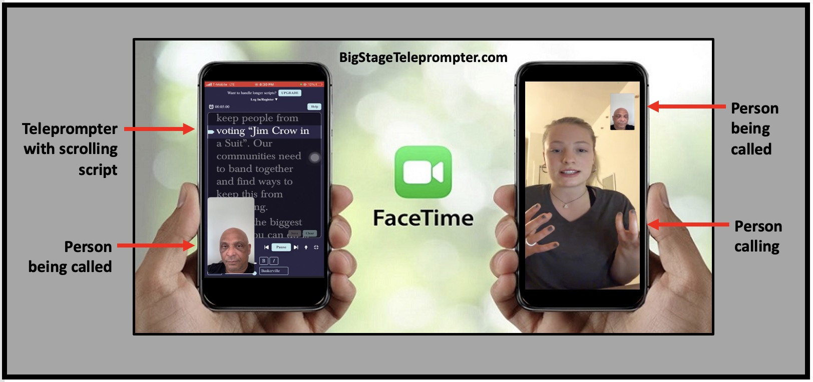 Activists canvas to build support for HR1 For the People Act with FaceTime and the free BigStage Teleprompter app.