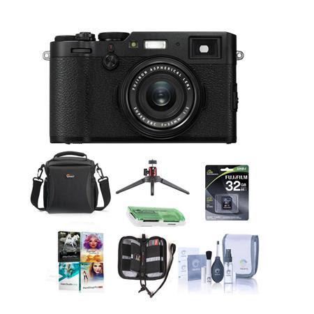 X100F 24.3MP Digital Camera, Fujinon 23mm f/2 Lens, Black - Bundle With 32GB SDHC Card, Ca