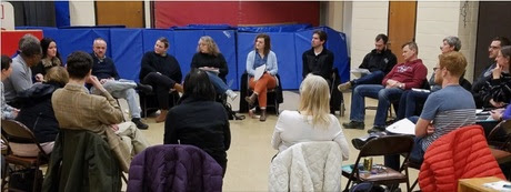 Audubon Neighborhood Association neighbors discussing mental health at December 2018 meeting