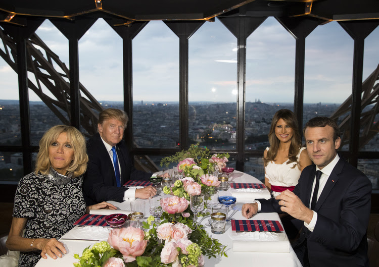 Donald and Melania Trump dine with Emmanuel and Brigitte Macron in Paris. (AP/Carolyn Kaster)