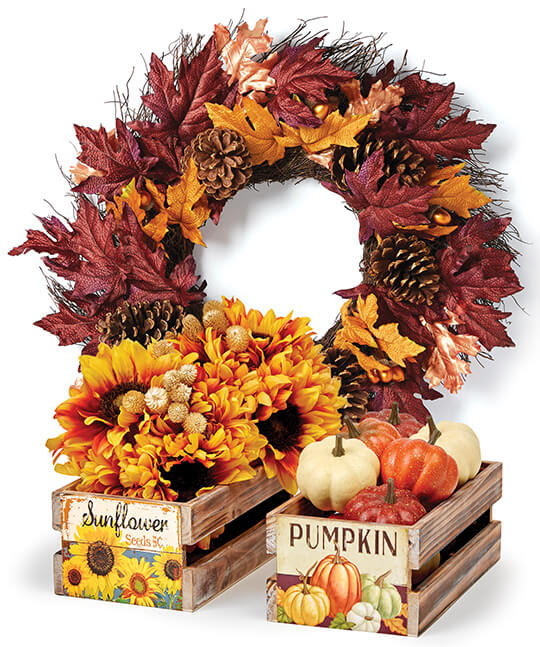 Fall Wreaths and Containers.