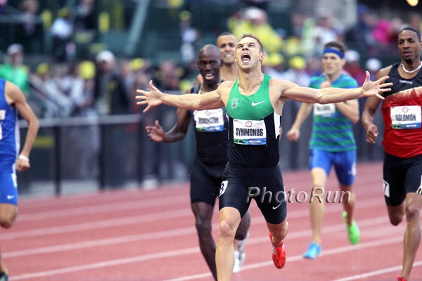 Nick Symmonds celebrates his victory at the 2012 US Olympic Trials
