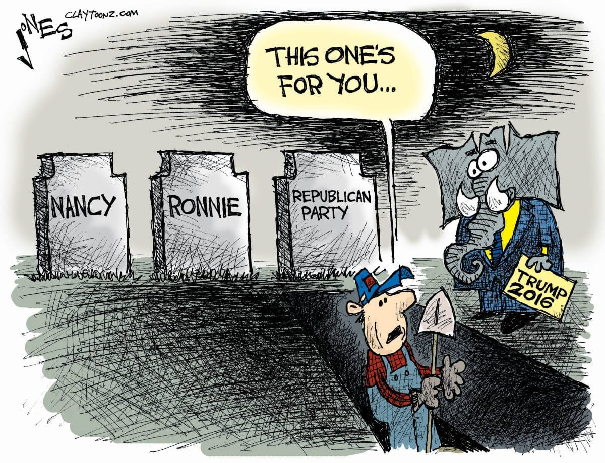 Cartoon showing the death of the Republican party.