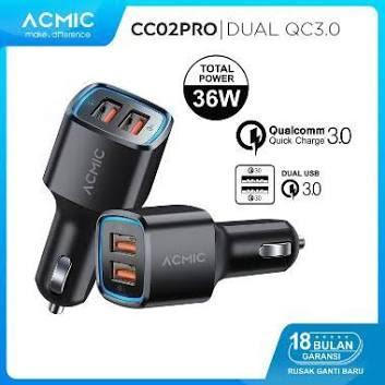 ACMIC CC02PRO Dual USB QC3.0 Car Charger Fast Charging 36 Watt