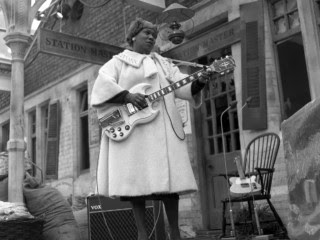 "Sister Rosetta Tharpe performing ""Blues and Gospel Train,"" in 1964."