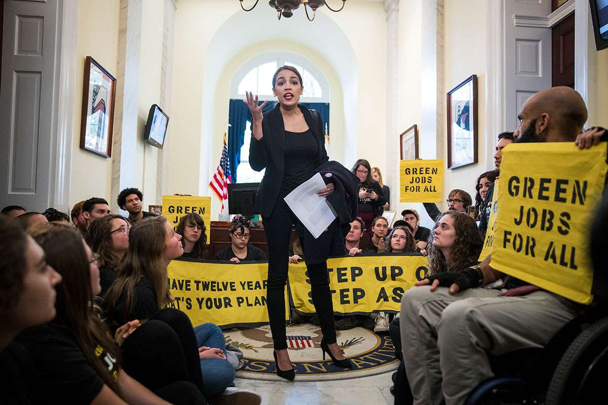 Alexandria Ocasio-Cortez pushing for a Green New Deal