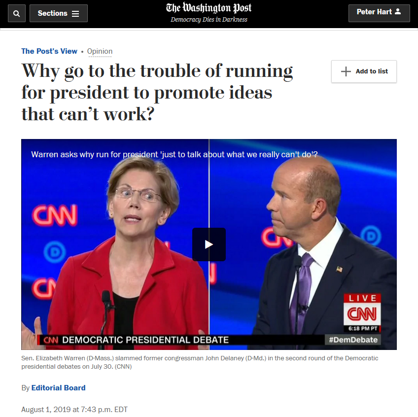 WaPo: Why go to the trouble of running for president to promote ideas that can't work?